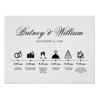 Order of Service Wedding Day Elegant Script Poster