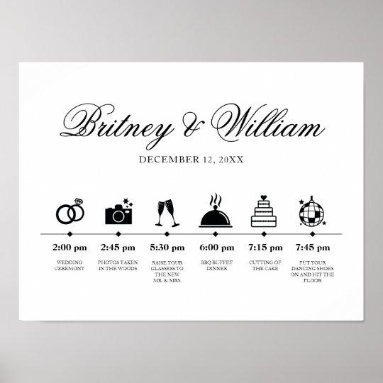 Wedding Order Of Service.Order Of Service Wedding Day Elegant Script Poster