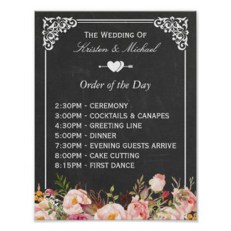 Order of the Day | Floral Chalkboard Wedding Sign