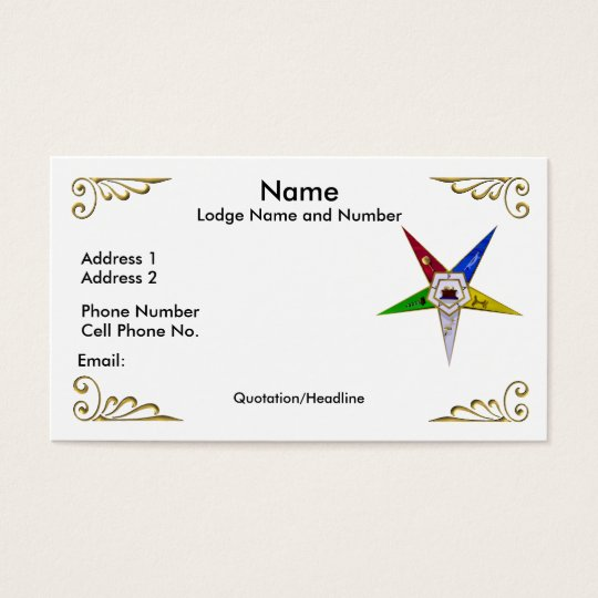 Order of the Eastern Star Profile/Business Card