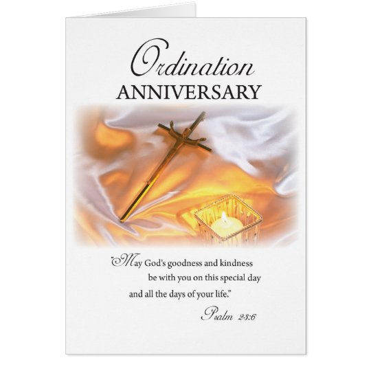 Ordination Anniversary, Cross Candle Card