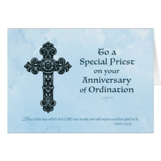 Ordination Anniversary Priest, Ornate Cross Greeting Card