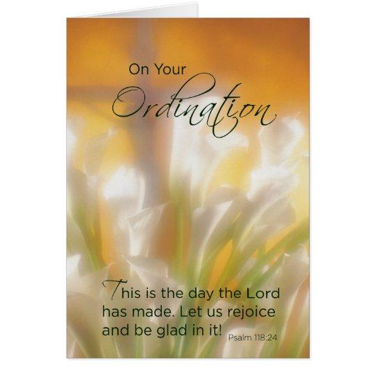 Ordination Congratulations, Lilies & Cross Card