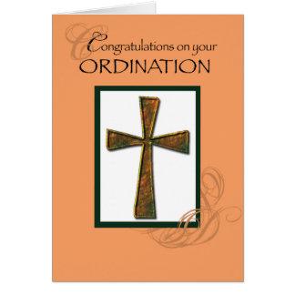 Ordination Congratulations Metallic Cross Greeting Card