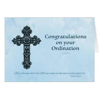 Ordination Congratulations Ornate Cross Blue Card