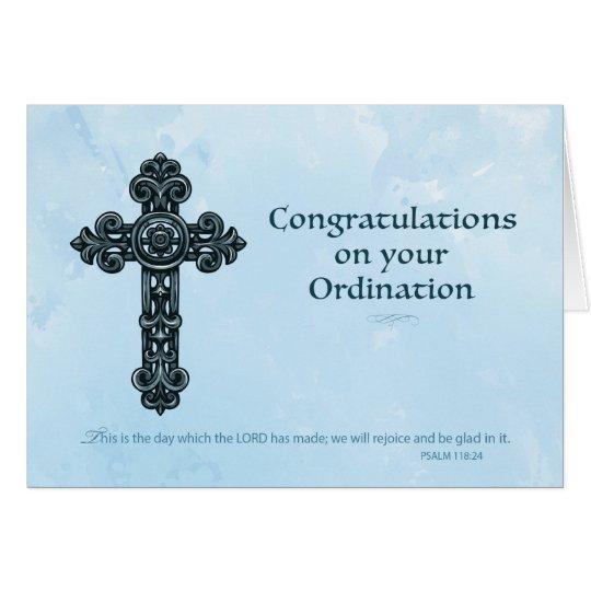 Ordination Congratulations Ornate Cross Blue Card