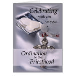 Ordination Congratulations Priest, Hosts and Cross Greeting Card
