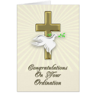 Ordination congratulations with a golden cross card