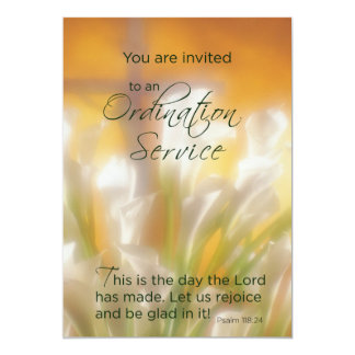 Ordination Service Invitation with Lilies and Cros