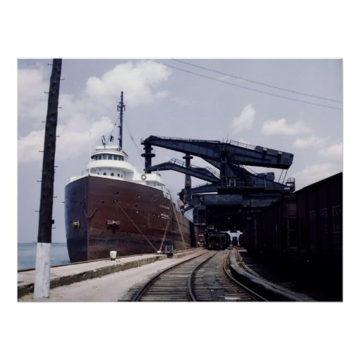 Ore Ship in Cleveland, Ohio, 1940s Poster