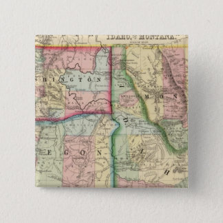 Ore, Wash, Idaho, Mont Map by Mitchell 15 Cm Square Badge