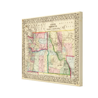 Ore, Wash, Idaho, Mont Map by Mitchell Canvas Print