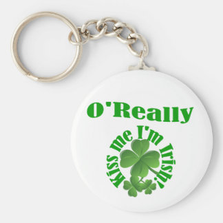 O'Really, Irish surname Basic Round Button Key Ring