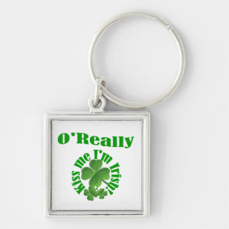 O'Really, Irish surname Silver-Colored Square Key Ring
