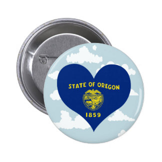 Oreganian Flag on a cloudy background 2 Inch Round Button