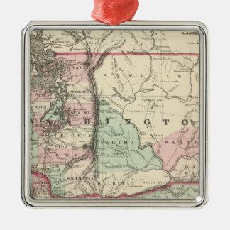 Oregon and Washington Silver-Colored Square Decoration