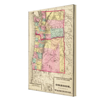 Oregon and Washington Territory Canvas Print