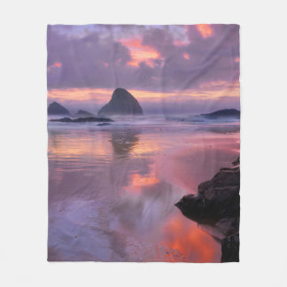 Oregon beach and sea stacks, sunset fleece blanket
