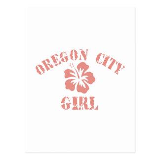 Oregon City Pink Girl Postcard