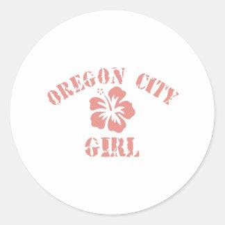 Oregon City Pink Girl Round Sticker