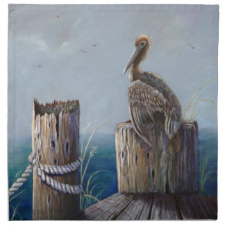 Oregon Coast Brown Pelican Acrylic Ocean Art Napkin
