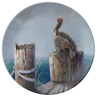 Oregon Coast Brown Pelican Acrylic Ocean Art Plate