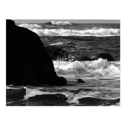 Oregon Coast Monochrome Waves Postcard