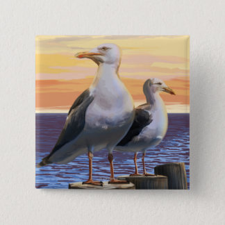 Oregon Coast Sea Gulls 15 Cm Square Badge
