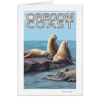 Oregon Coast Sea Lions Greeting Cards