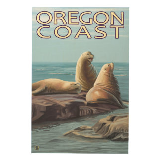 Oregon Coast Sea Lions Wood Wall Art