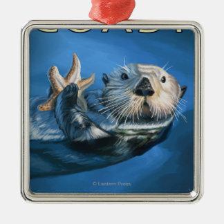 Oregon Coast Sea Otter Silver-Colored Square Decoration