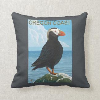 Oregon Coast Tufted Puffin Throw Pillow