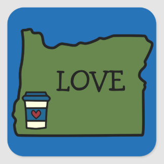 Oregon & Coffee Square Sticker