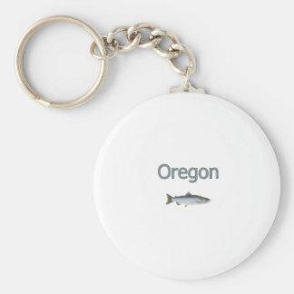 Oregon Coho Salmon Logo Basic Round Button Key Ring