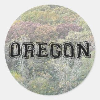 OREGON - College Distort - Mult Products Round Sticker