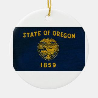 Oregon Flag Round Ceramic Decoration