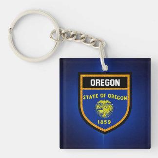 Oregon  Flag Double-Sided Square Acrylic Key Ring