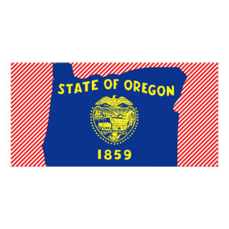 Oregon Flag Map Photo Greeting Card