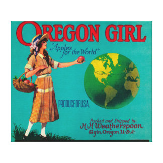 Oregon Girl Apple Crate LabelElgin OR Gallery Wrapped Canvas