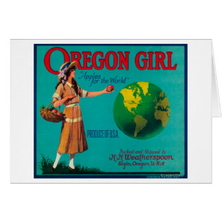 Oregon Girl Apple Crate LabelElgin, OR Greeting Card