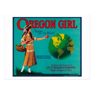 Oregon Girl Apple Crate LabelElgin, OR Postcard