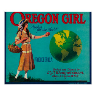 Oregon Girl Apple Crate LabelElgin, OR Poster