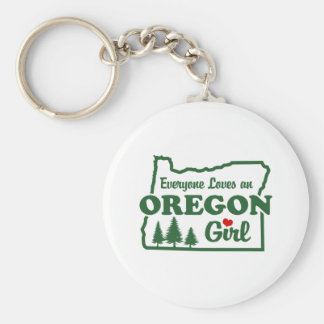 Oregon Girl Basic Round Button Key Ring