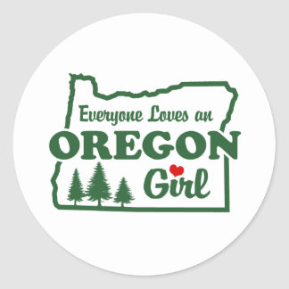 Oregon Girl Round Sticker