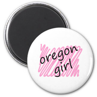 Oregon Girl with Scribbled Oregon Map 6 Cm Round Magnet