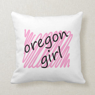 Oregon Girl with Scribbled Oregon Map Pillows