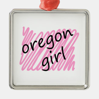 Oregon Girl with Scribbled Oregon Map Christmas Tree Ornaments