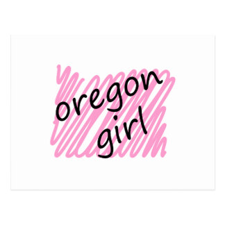Oregon Girl with Scribbled Oregon Map Postcard
