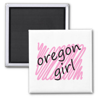 Oregon Girl with Scribbled Oregon Map Square Magnet