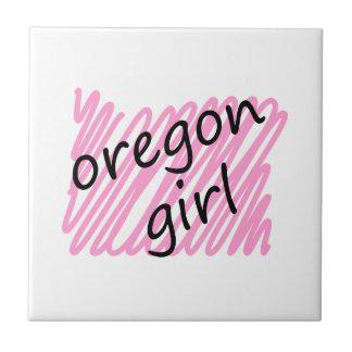 Oregon Girl with Scribbled Oregon Map Tile